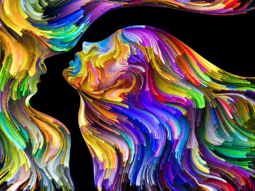 Obraz abstrakcyjny - profil człowieka - obrazy, fototapety, plakaty