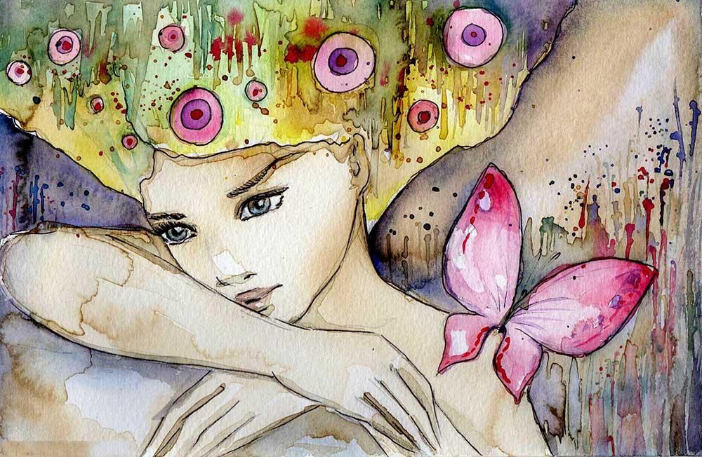 Obraz do salonu piękna dziewczyna z motylem - obrazy, fototapety, plakaty